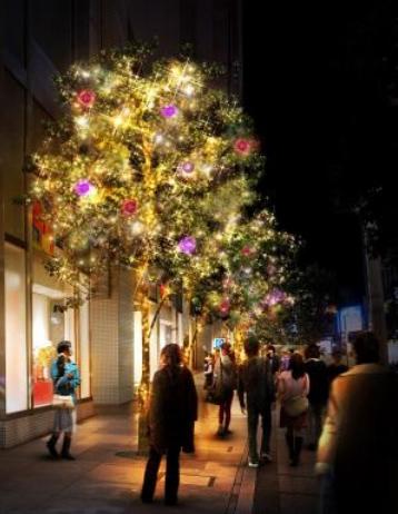 季節感あふれるお洒落な歩道 ~Flags 東側歩道樹木~