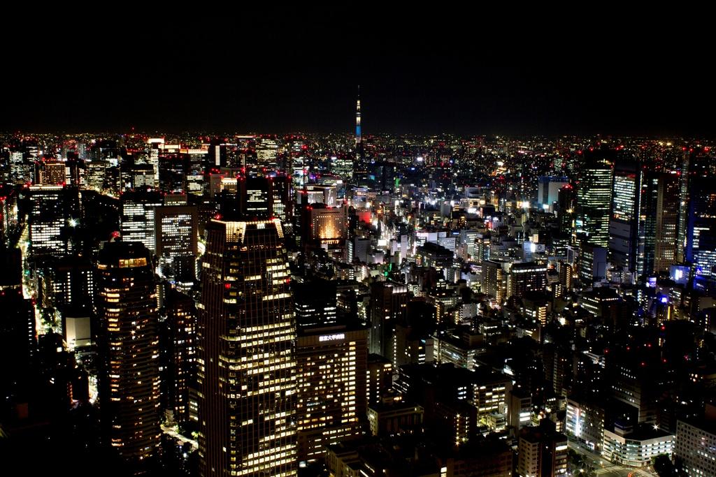 展望台からの夜景 スカイツリーが見える