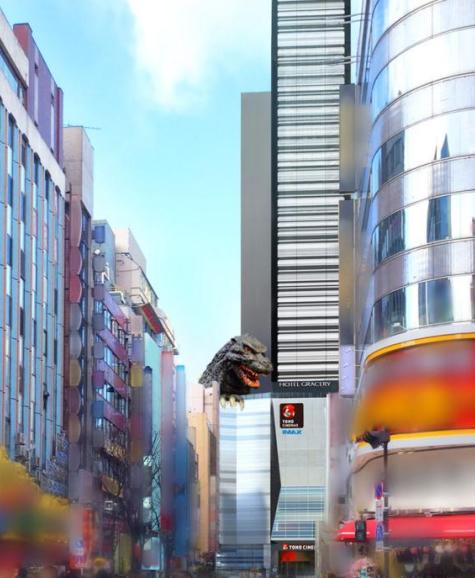 ↑靖国通りから見た〝ゴジラヘッド〟と新宿東宝ビル