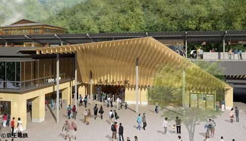 「高尾山口駅」のリニューアル工事は、サントリー美術館や歌舞伎座などを手掛けた日本を代表する建築家・隈 研吾氏がデザイン