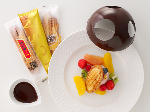 「UNAGI PIE CAFE TOKYO」限定販売「4種のうなぎパイ・メルティングチョコドーム」 うなぎパイにチョコを贅沢にメルティングして、うなぎパイ4種とチョコの夢のマリアージュが初登場