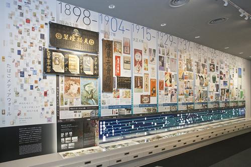 近代から現代にいたる日本のたばこの産業史を紹介する「メディアウォール」