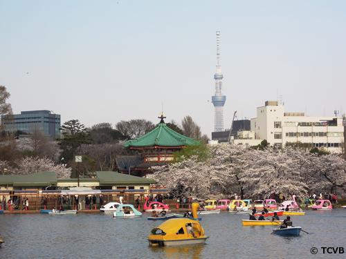 不忍池と弁天堂(緑の建物)、向こうに見える東京スカイツリー®