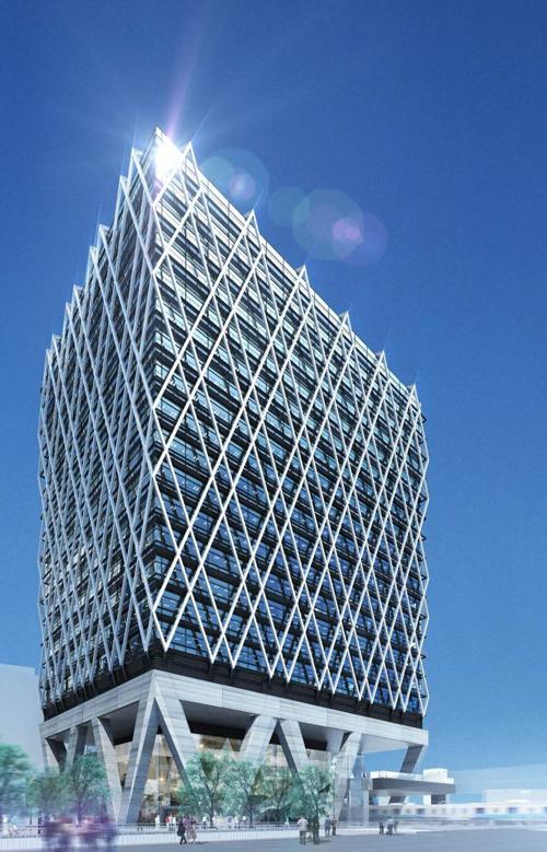 地上18階の高層ビル 完成イメージ(明治通り方面より)