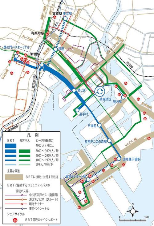 BRT沿線の交通機関の状況(BRT導入後)<br />画像:東京都報道資料より