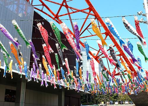 東京タワーの空を気持ち良さそうに泳ぐ「333匹の鯉のぼり」と全長6mの「さんまのぼり」