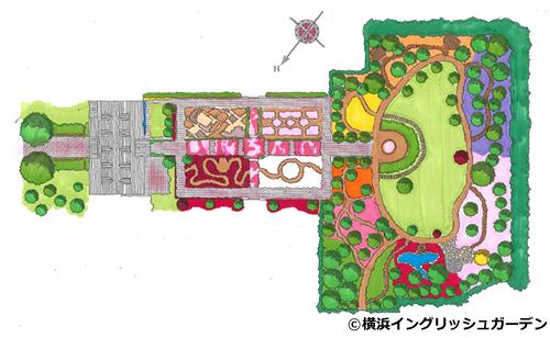園内はカラースキーム(色彩計画)に基づいて、「ローズ&シュラブガーデン」や「ローズ&グラスガーデン」「ローズ&クレマチスガーデン」「ローズ&ハーブガーデン」など6つのエリアで構成