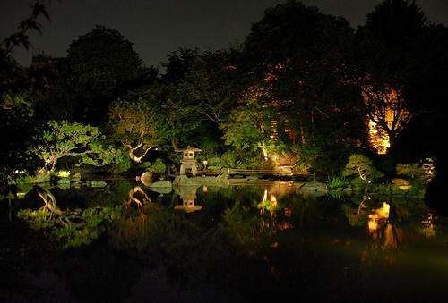 夜間の庭園をゆったりと歩いてみよう