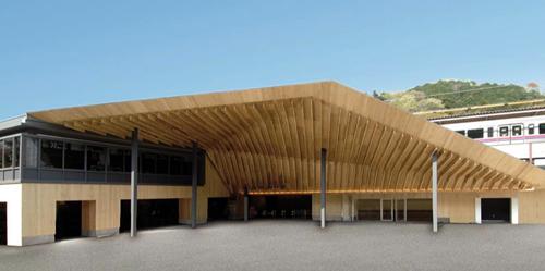 髙尾山薬王院をイメージしたダイナミックな屋根が特徴の「高尾山口駅」