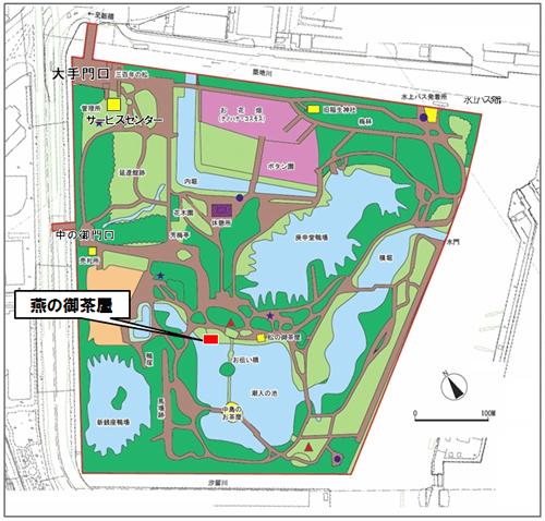 「浜離宮恩賜庭園」の園内マップと今回復元工事が完了した「燕の御茶屋」の場所