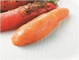 〈味のめんたい 福太郎〉工場直送出来たて無着色明太子 100g 1,350円 ※各日10kg限り、手前のもの
