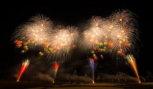 各テーマのイメージに沿ったBGMに乗せて華麗な花火の数々が江戸川の夜空を美しく彩る。