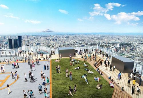 全面ガラス張りで開放感たっぷり 高さ230mの屋外展望施設と富士山の眺望イメージ