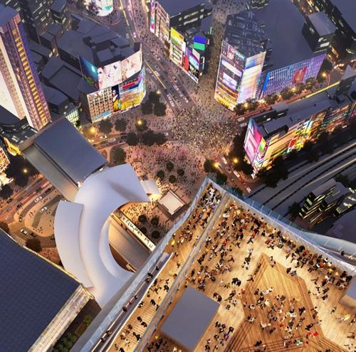 世界一人通りが多いとも言われるスクランブル交差点をを見おろすイメージ(恐い)