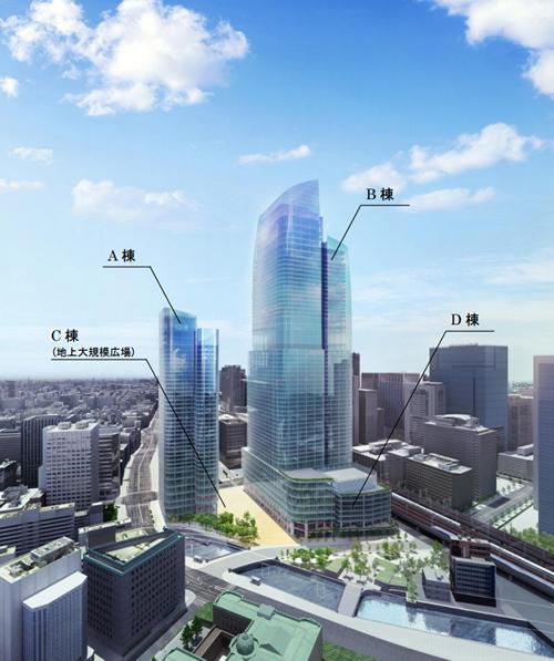 A棟(地上37階)、B棟(地上61階)、C棟(地上大規模大広場)、D棟(地上9階)全体像