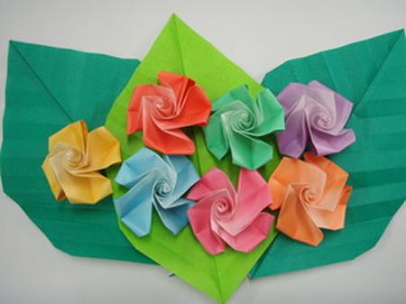 バラの折り紙教室 例