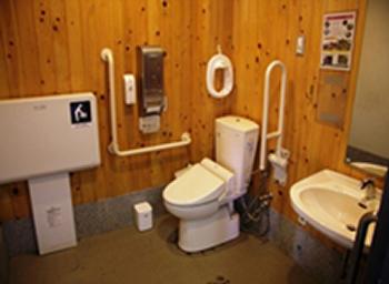 全ての個室に手すり、ウォシュレット完備 女子トイレ便器は一室を除き洋式を設置
