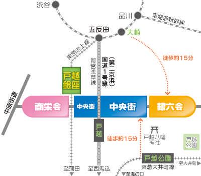 戸越銀座商店街 アクセスマップ