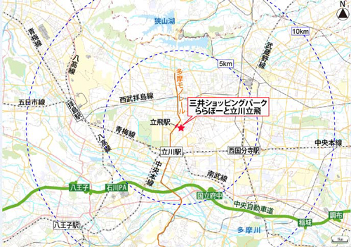 三井ショッピングパーク ららぽーと立川立飛広域図