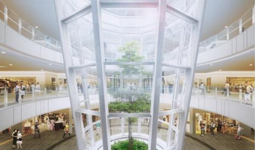 建物内部中央には、シンボルツリーを備えた植物をガラス容器の中で育てるインテリア「テラリウム」を設置。