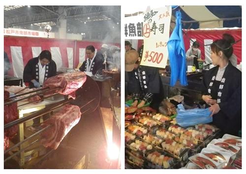 新鮮で豪快な「マグロの解体実演・即売」や「ホンビノス貝の盛り放題販売」をはじめ、売り切れ御免の人気商品が多数