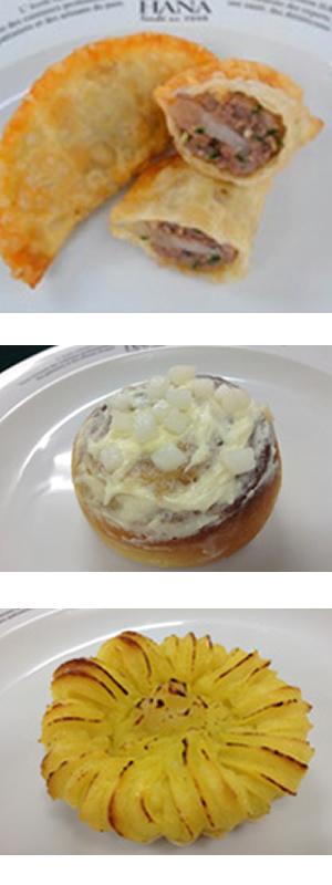 「にっこり揚げ餃子」「にっこり!ナシナモンロール」「餃子の皮deにっこり梨入りスウィートタルト」3品