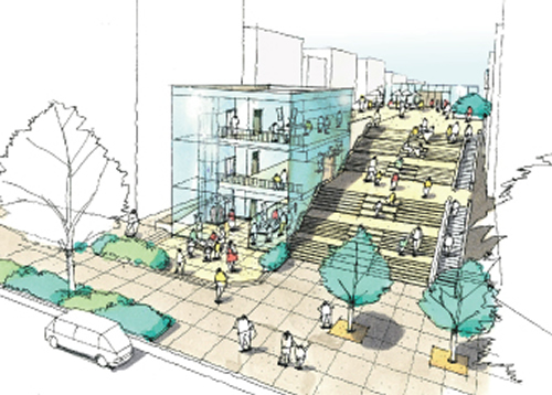 「築地新市場(仮称)」 晴海通りからの外観