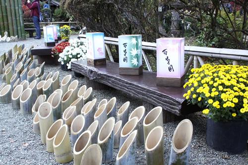 紅葉まつり期間中の竹灯籠