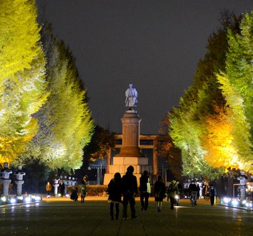 黄金色に輝く!靖國神社参道「イチョウのライトアップ」が2015年11月24日(火)~12月5日(土)