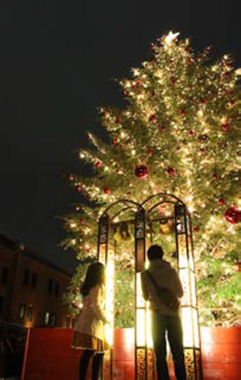 マーケットの真ん中には高さ10mの本物のモミの木の巨大ツリーを設置、カップルで一緒に鳴らすと幸せになれると言われている幸せの鐘も登場