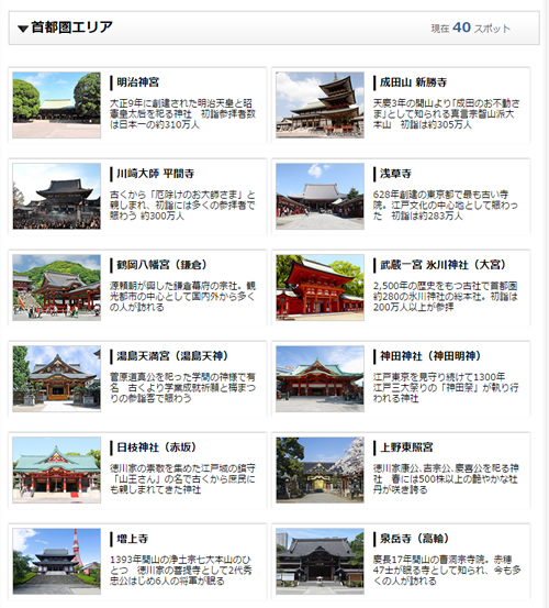 首都圏の神社・お寺の参拝情報